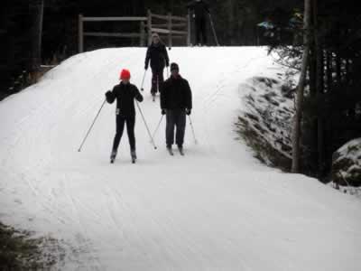 skiers descending a bridge at mount van hoevenberg