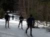 skiers warm down following lumberjack scramble
