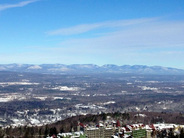 view of catskills with mohonk hotel below