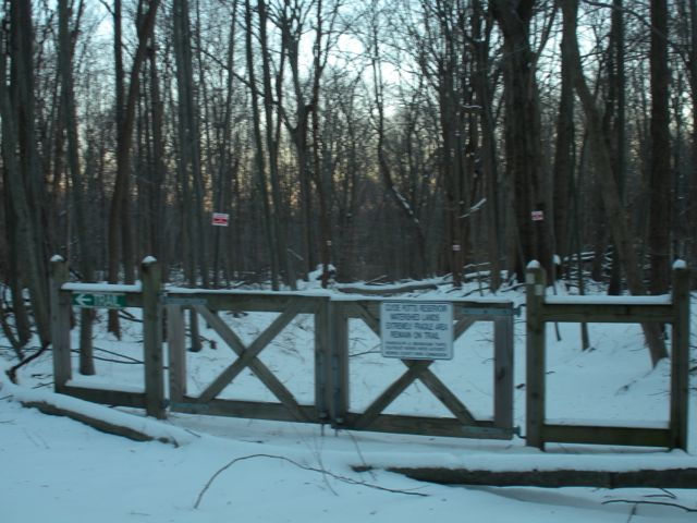 gated trail in clyde potts watershed.